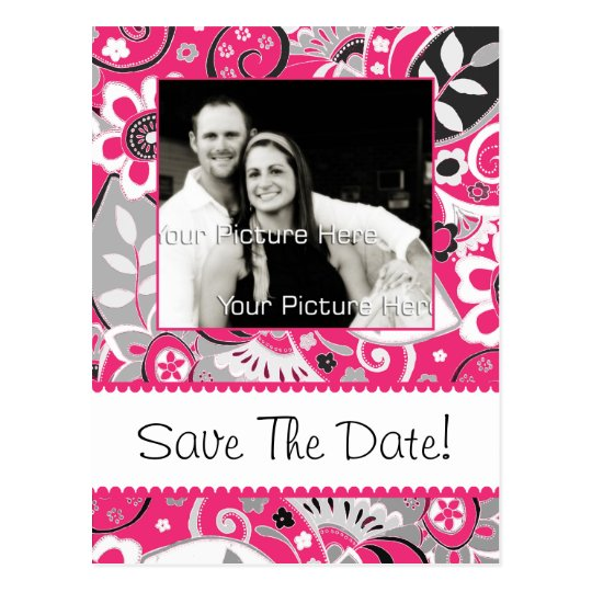 Hot Pink and Gray Fall Floral Save The Date Postcard