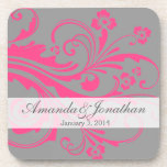 Hot Pink and Gray Floral Chic Wedding Beverage Coaster