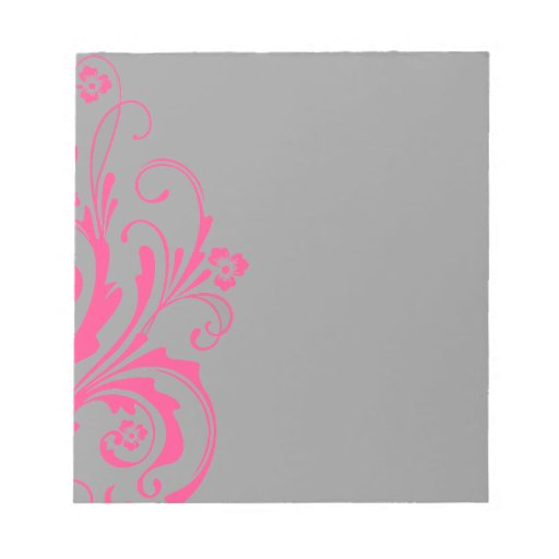 Hot Pink and Gray Floral Chic Wedding Memo Notepads