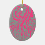 Hot Pink and Gray Floral Chic Wedding Ornament