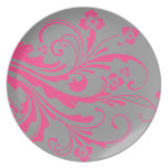 Hot Pink and Gray Floral Chic Wedding Party Plates