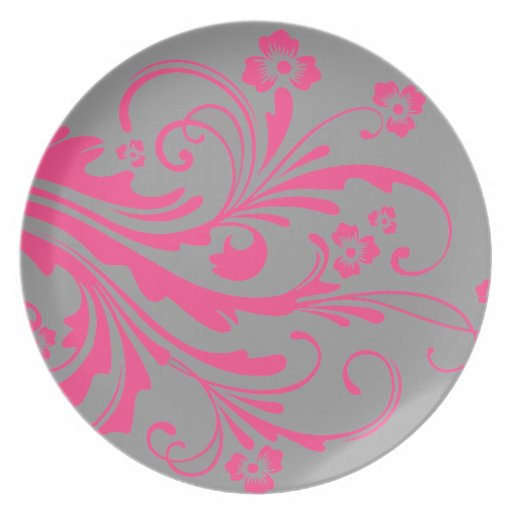Hot Pink and Gray Floral Chic Wedding Plate