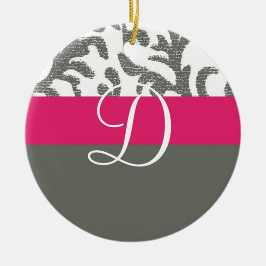 Hot Pink and Gray Floral Monogram Ceramic Ornament