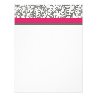 Hot Pink and Gray Floral Pattern Letterhead Template