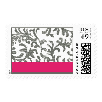 Hot Pink and Gray Floral Pattern Stamp