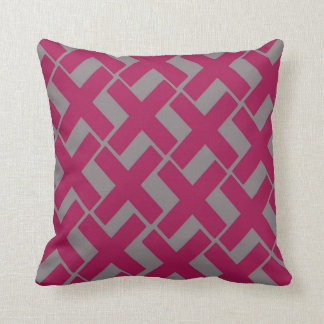 Hot Pink and Gray Xs Throw Pillow