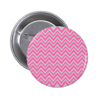 Hot Pink and Gray Zigzag Pattern 2 Inch Round Button