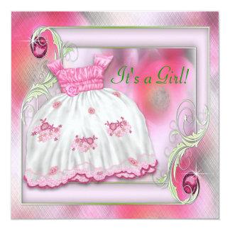Hot Pink and Green Baby Girl Shower Custom Invitation