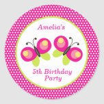 Hot pink and green butterfly butterflies theme DIY Classic Round Sticker