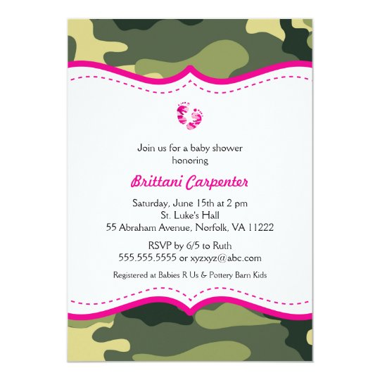 Hot Pink And Green Camouflage Baby Shower Invites Zazzle Com