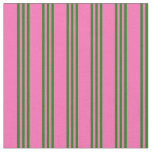 [ Thumbnail: Hot Pink and Green Colored Lined Pattern Fabric ]