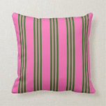 [ Thumbnail: Hot Pink and Green Colored Lined Pattern Pillow ]