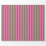 [ Thumbnail: Hot Pink and Green Colored Lined Pattern Wrapping Paper ]