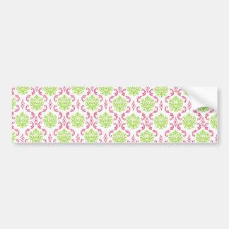 Hot Pink and Green Damask Bumper Sticker