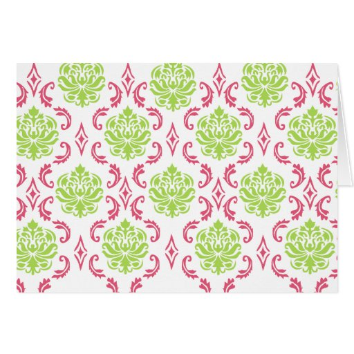 Hot Pink and Green Damask Cards