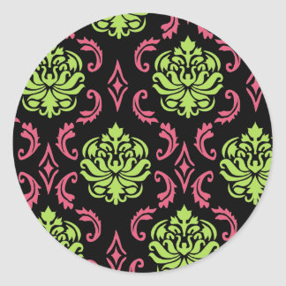 Hot Pink and Green Damask Classic Round Sticker