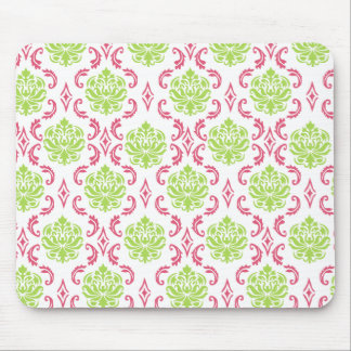 Hot Pink and Green Damask Mouse Pad