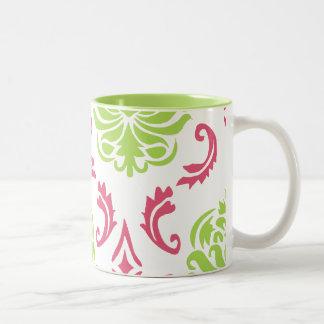 Hot Pink and Green Damask Two-Tone Coffee Mug