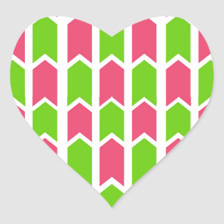 Hot Pink and Green Fence Panel Heart Sticker