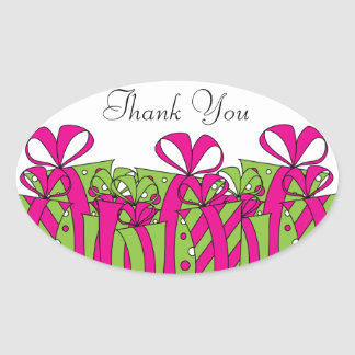 Hot Pink and Green Gift Presents | Customize Oval Sticker