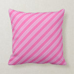 [ Thumbnail: Hot Pink and Lavender Colored Stripes Throw Pillow ]