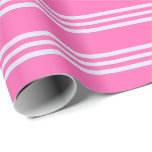 [ Thumbnail: Hot Pink and Lavender Colored Stripes Wrapping Paper ]