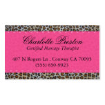 Hot pink and leopard business card
