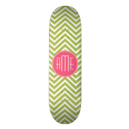 Hot Pink and Lime Chevron Pattern with Monogram Skateboard Deck