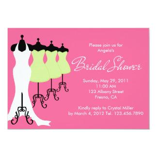 Hot Pink and Lime Dresses Bridal Shower Invitation