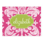 Hot Pink and Lime Girly Damask Pattern Postcard