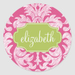 Hot Pink and Lime Girly Damask Pattern Round Sticker