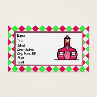 Hot Pink and Lime Green Argyle Business Card