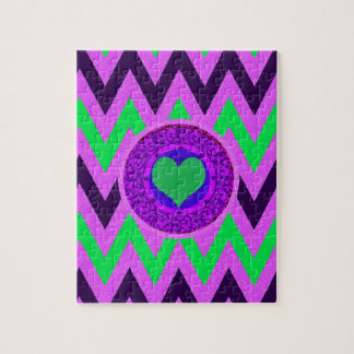 Hot Pink and Lime Green Chevron Jigsaw Puzzle
