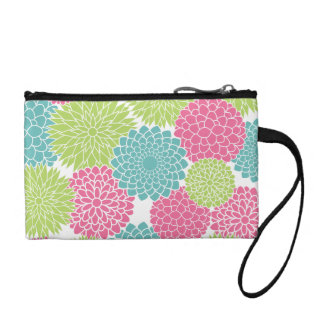 Hot Pink and Lime Green Flowers Pattern Coin Wallet