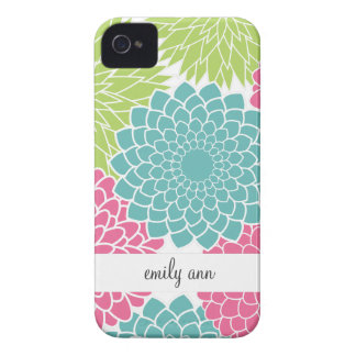 Hot Pink and Lime Green Flowers Pattern iPhone 4 Case