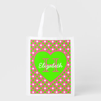 Hot Pink and Lime Green Monogram Reusable Tote