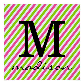 Hot Pink and Lime Green Striped Monogram Print