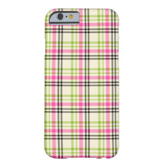 Hot Pink and Lime Green Vintage Plaid Barely There iPhone 6 Case