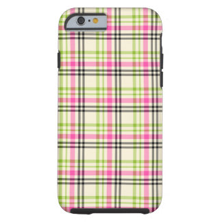 Hot Pink and Lime Green Vintage Plaid Tough iPhone 6 Case