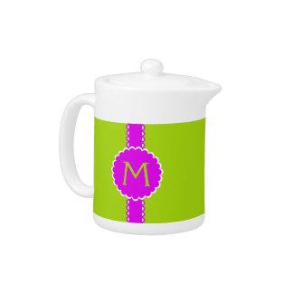 Hot Pink and Lime Monogram Porcelain Teapot
