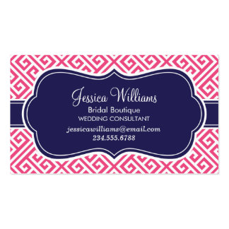 Hot Pink and Navy Blue Greek Key Pattern Double-Sided Standard Business Cards (Pack Of 100)