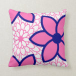 Hot Pink and Navy Blue Modern Floral Throw Pillows