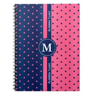 Aztec Themed Hot Pink and Navy Blue Polka Dots Notebook