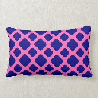 Hot Pink and Navy Blue Quatrefoil Pattern Lumbar Pillow