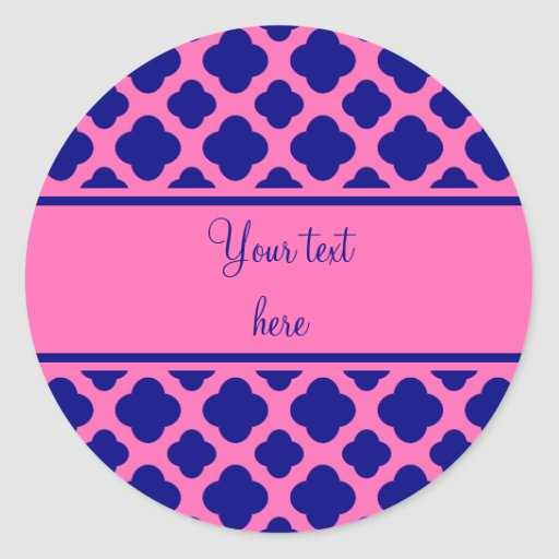 Hot Pink and Navy Blue Quatrefoil Pattern Round Sticker