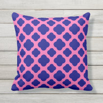 Hot Pink and Navy Blue Quatrefoil Pattern Throw Pillow