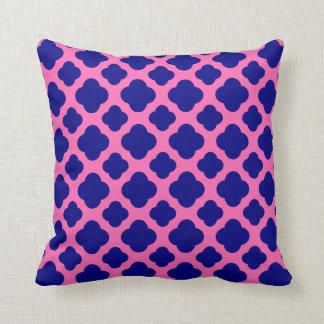 Hot Pink and Navy Blue Quatrefoil Pattern Throw Pillow