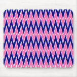 Hot Pink and Navy Blue Zigzag Pattern Mouse Pads
