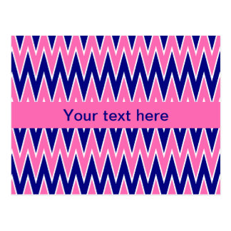 Hot Pink and Navy Blue Zigzag Pattern Postcards