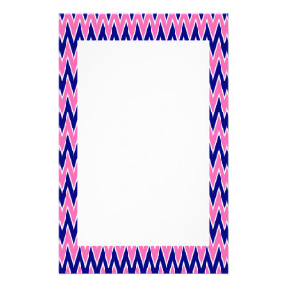 Hot Pink and Navy Blue Zigzag Pattern Personalized Stationery